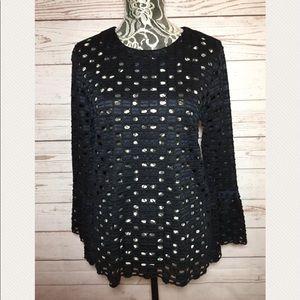 Ann Taylor Blue Black Crochet Top Bell Sleeve Sz M